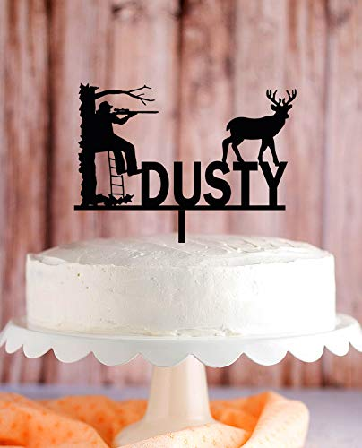 DKISEE Deer Hunter Cake Topper, Hunting On Tree Stand Cake Topper, Outdoor Man Wedding, Hunter Birthday Cake Topper, Hunter Silhouette Cake Topper 5.9 inch