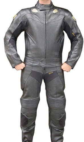 Perrini 2pc Motorcycle Racing Riding Leather Track Suit w/Armor Black