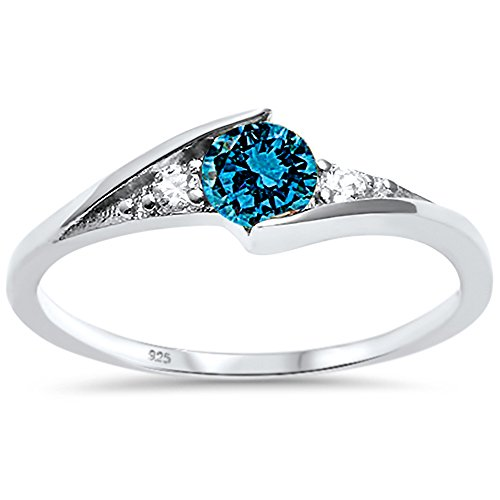 Oxford Diamond Co Sterling Silver Round Blue Cubic Zirconia Solitaire Fashion Ring Sizes 7