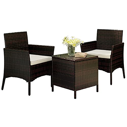 2 Seater Rattan Garden Furniture Set, 2 Wicker Chairs with Cushions and 1 Coffee Table Bistro Set for Conservatory Patio Outdoor Balcony, Brown