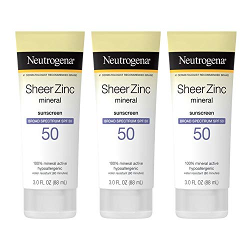 Neutrogena Sheer Zinc Oxide Dry-Touch Sunscreen Lotion with Broad Spectrum SPF 50, Water-Resistant, Hypoallergenic & Non-Greasy Mineral Sunscreen, 3 fl. oz (Pack of 3)