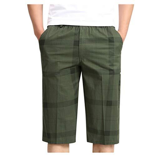 Xniral Herren Chino Shorts Bermuda Kurze Hose mit Kordelzug Elastische Taille Regular Fit Multi Pocket Baumwolle Shorts Overalls Sommer(d Armeegrün,6XL)