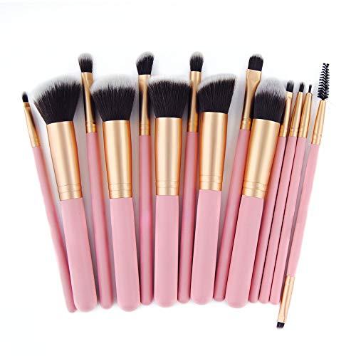 14 pinceaux de maquillage en poudre de base synthétique pour pinceaux de kabuki anti-cernes ombres à paupières maquillage kit de brosses Brosse à maquillage XXYHYQ (Color : Rose, Size : Libre)
