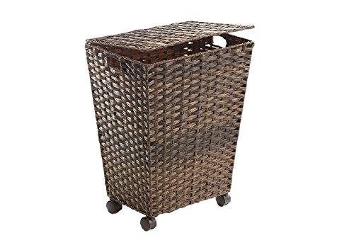 Kobolo Wäschebehälter mit Rollen aus braunem Polyrattan
