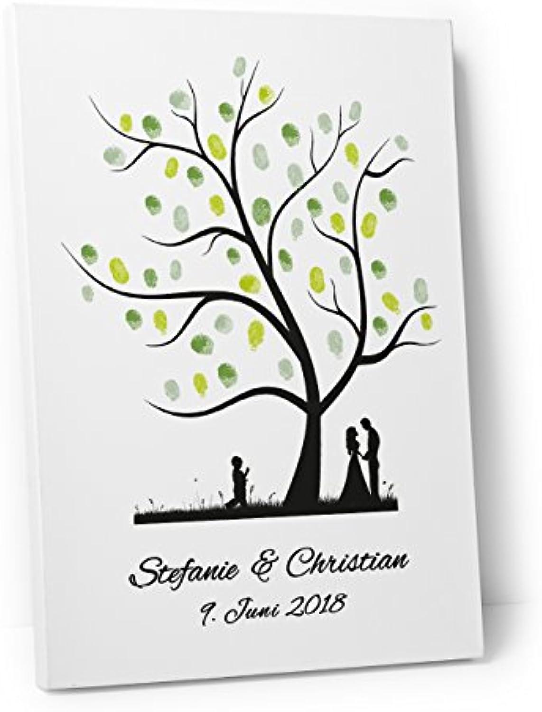 DeinWeddingshop Wedding Tree – Leinwand zur Hochzeit – PERSONALISIERT – Fingerabdruckbaum, Gstebuch – Baum 1 (30 x 40 cm, Leinwand auf Keilrahmen)