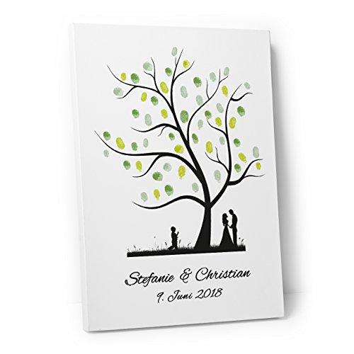 DeinWeddingshop Wedding Tree – Leinwand zur Hochzeit – PERSONALISIERT – Fingerabdruckbaum, Gästebuch – Baum 1 (40 x 60 cm, Leinwand auf Keilrahmen)