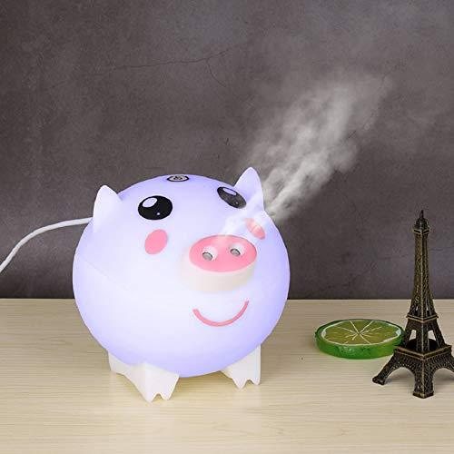 MHBY Luftbefeuchter, niedliches Schwein Ultraschall Luftbefeuchter Aromatherapie ätherisches Öl Diffusor Doppelspray Steckdose großen Nebel Bunte Lampe Home Office Luftbefeuchter