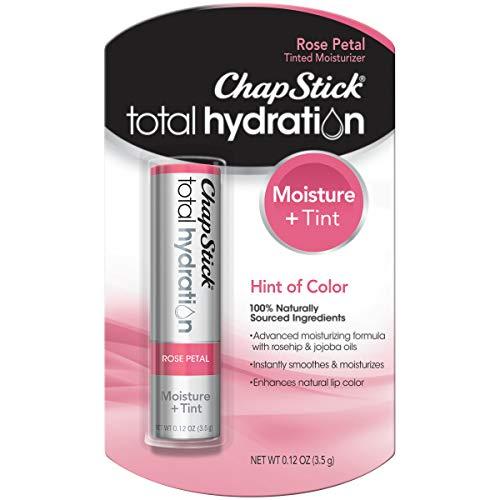 ChapStick Total Hydration Moisture + Tint Rose Petal Tinted Lip Balm Tube, Tinted Moisturizer - 0.12 Oz