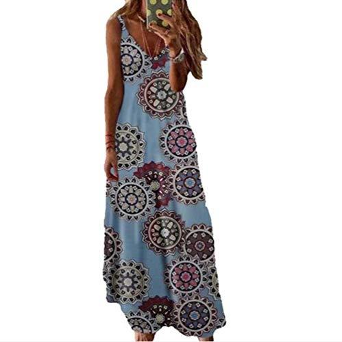 LJXJ Sommer europäische und amerikanische Frauenkleider schlanke schlanke Lange Blumen Hosenträger Rock Frauen,5,8XL