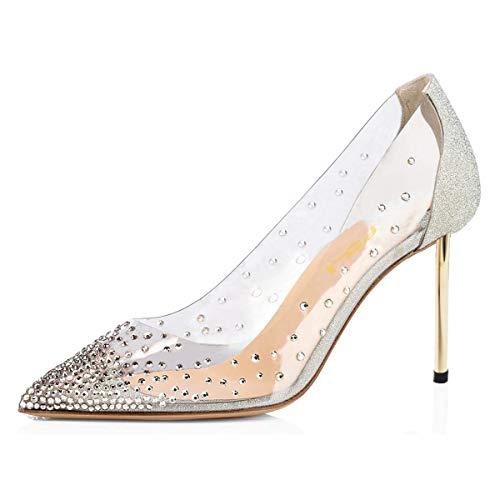 FSJ Women Pointed Toe Transparent Pumps Metal High Heels Slip On Rhinestons Dress Glitter Shoes Size 7 Silver-Metal Heel 8.5cm