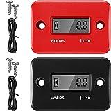 2 Piezas Contadores de Horas Inductivos Medidor de Motor Digital Tacómetros de Apagado Automático Tacómetros Pequeños de Hora para Motocicleta Cortacésped Generador (Negro, Rojo)