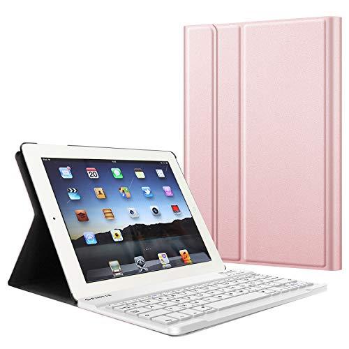 Fintie Tastatur Hülle für iPad 2 / iPad 3 / iPad 4 - Ultradünn leicht SlimShell Ständer Schutzhülle Keyboard Case mit magnetisch Abnehmbarer drahtloser Deutscher Bluetooth Tastatur, Roségold