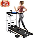 Running Treadmill - Non-electric Folding Manual Walking Treadmill with incline for Home, Gym, Apartment - Folding Shock Running, Sit-ups Pannel, T-wisting, Draw Rope 4-in-1 Mechanical Treadmill