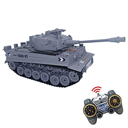 JUGUETECNIC │ Tanque Teledirigido RC Tiger | Airsoft + Efectos Sonido + Humo + Figura Militar | 3 Velocidades de Tanque Radiocontrol │ Escala 1:18