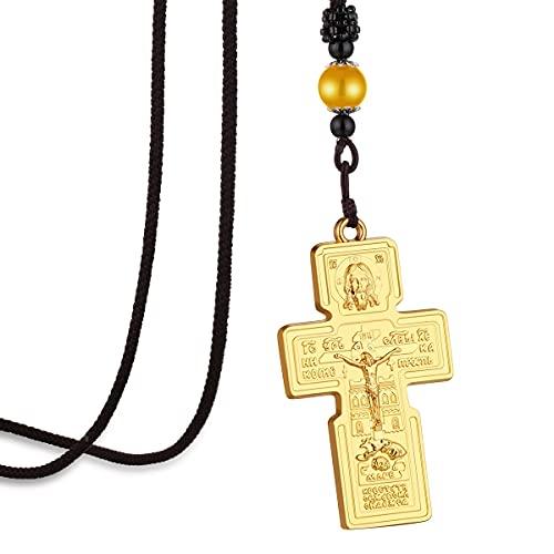 Collar con colgante de cruz de Jesús ortodoxo oriental ruso, collar de cadena de cuerda trenzada para mujeres, hombres, joyería de oración santa, cadena de regalo, longitud 70Cm