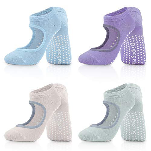 SZSMD Yoga Socken, 4 Paare Socken Damen stoppersocken, rutschfeste Yoga Socken für Damen, Ideal für Pilates, Barre, Ballett, Fitness, Barfuß-Training, Trampolin