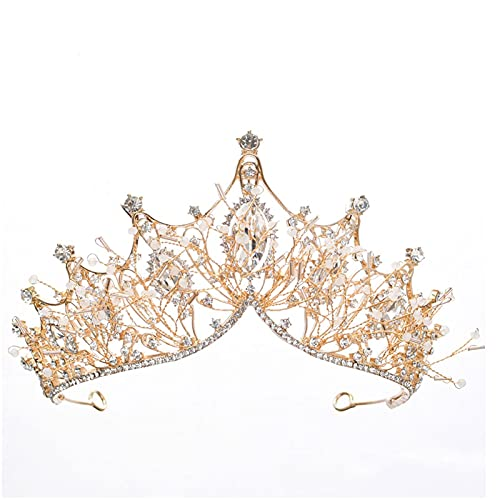ZHANGQQ Crystal Tiara Crown,Gold Crown Ladies Crown and ti The Crown, The Crown Atmosphere, The Super Fairy Wedding Dress, The Crown, The Hair Accessory, The Crown Jewelry (Color : Gold)