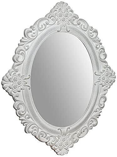 Biscottini Specchio Specchiera da Parete e Appendere finitura bianco anticato PR2xL50xH58 cm