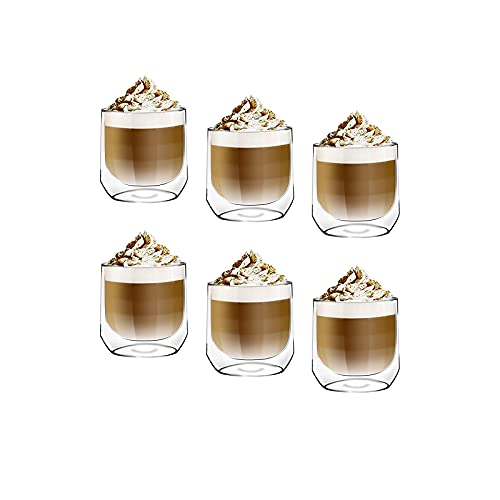 [6-Pack, 8.5Oz]DESIGN•MASTER - Premium Oval Double Wall Insulated Glass, Coffee or Tea Glass Mugs, Temperature Isolated Glass, Perfect for Latte, Cappuccino, Americano, Tea and Beverages