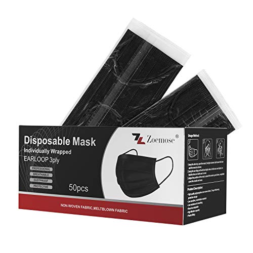 Disposable Face Masks 3-Ply Individually Wrapped for Home, School, Office and Outdoors (50 PCS,Black)