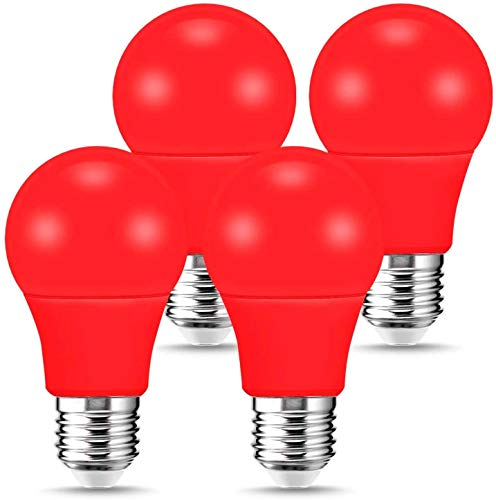 LOHAS LED Red Lights Bulbs, 9W (60W Equivalent) A19 Red Color Light Bulbs, E26 Medium Base 120V Porch Light, Party Light, Holiday Light for Halloween Christmas Decoration, 720LM, Not-Dimmable, 4 Pack