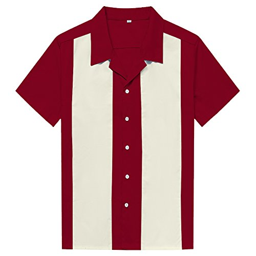 Candow Look Men'S Two Tone Contrast Color Bowling Shirts