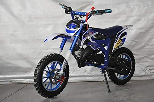 Mini Pitbike con motor de 49cc de 2 tiempos, XTM TEAM cross. Mini dirt bike. Moto de mini cross (Azul)