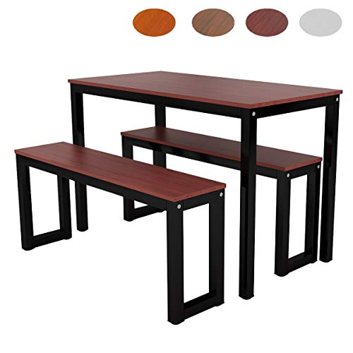 Zoyo Wooden Dining Table and 2 Benches for Small Space Kitchen Table and Chairs Set (Brown)