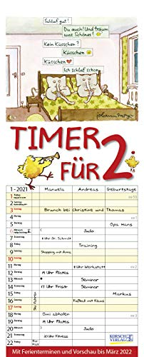 Timer für 2 2021: Familienplaner mit 3 breiten Spalten. Familienkalender mit Tier-Comics, Ferienterminen, Vorschau bis März 2022 und tollen Extras. 19 x 47 cm