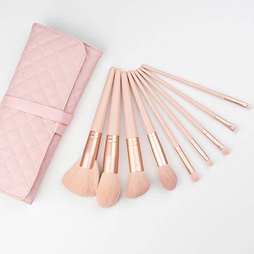 BGcrsl Pinceaux de Maquillage, 9 PCS Set de pinceaux de Maquillage Premium Synthetic Foundation Blending Blush Makeup Brush Kit-Pink