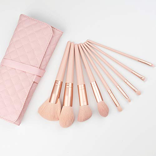 BGcrsl Pinceaux de Maquillage, 9 PCS Set de pinceaux de Maquillage Premium Synthetic Foundation Blending Blush Makeup Brush Kit-Pink