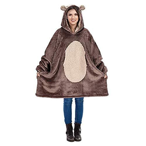 RHSML Manta con capucha de gran tamaño para mujer, suave, cómoda y cálida, de lana de gran tamaño, con bolsillo frontal grande, manta de felpa gruesa para hombres y mujeres (talla única, A)