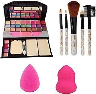 Lazygirl TYA 6155 Makeup kit + 5 pcs Makeup Brush + 2 pc Blender Puff Combo (Pack of 4)