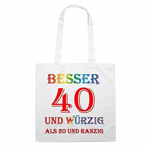 Reifen-Markt Bolso de diseño nº 3992mejor 40y würzig como 20y ranzig Cumpleaños bolsa de la compra escolar Bolsa turnbeu