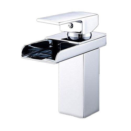 Furesnts casa moderna cucina e bagno rubinetto LED RGB cascata cromato leva singola nessuna batteria Miscelatore lavandino del bagno rubinetti,(Standard G 1/2 tubo flessibile universale porte)