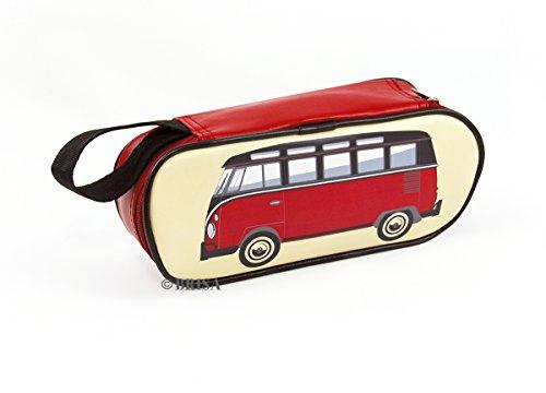 BRISA VW Collection - Volkswagen Combi Bus T1 Camper Van Trousse de maquillage en simili-cuir (PU), Sac à cosmétiques, Étui à crayons, Porte-crayon, Pochette universel pour l'école (Classique/Rouge)