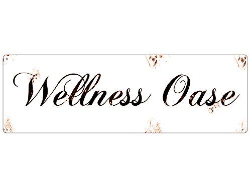 Interluxe Shabby Blechschild METALLSCHILD Türschild Wellness OASE Bad WC Beauty Geschenk
