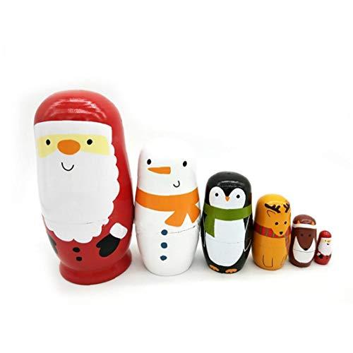 hjgnbiohg 1pack Holz Weihnachten Matrjoschka-Puppe Set Handmade Matryoshka Puppen Russische Verschachtelungs-Puppen-Geschenk Home Decoration