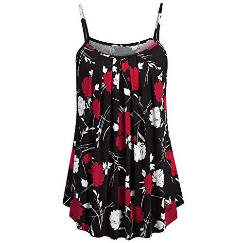 Andouy Damen - Camis Top Print - Ärmellose Weste Tank Plus Size Gr.36-52 Übergroße Laides Daily Beach Straps-Bluse(6XL(52).Rot-Blume)