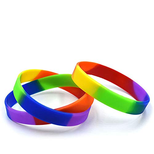 gotyou 20 Piezas de Pulseras de Silicona Arcoiris, Pulsera LGBTQ para Lesbianas Gays, Pulsera Arcoiris para Suministros para conciertos, Pulsera con Letrero de Amistad