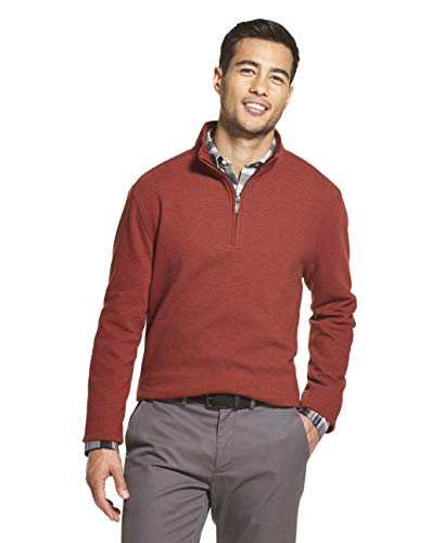 Van Heusen Men's Never Tuck Long Sleeve 1/4 Zip Ottoman Solid Pullover, Auburn, Small