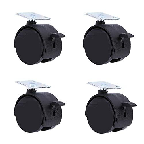SVUZU Ruedas giratorias con frenos giratorios, ruedas giratorias para silla de escritorio, ruedas de nailon, juego de 4 tornillos (sin arañazos/ruidos) para proteger tu alfombra/madera dura