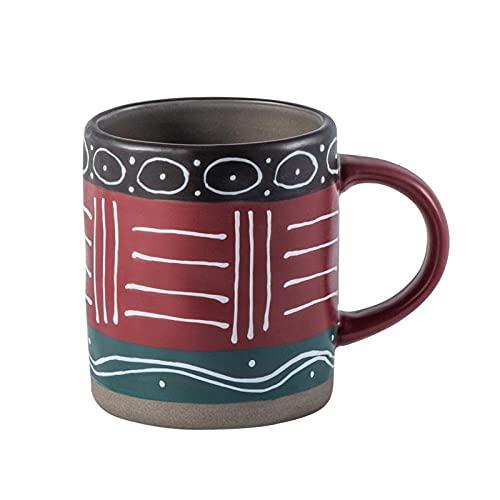 mglxzxxzc Tazas De Café Personalizadas Pintadas A Mano De 450 Ml, Tazas De Café Vintage De Cerámica Mate, Taza Creativa De Té, Leche, Agua, Taza-A