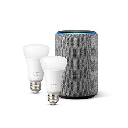 Amazon Echo (3ª generazione), Tessuto grigio mélange + Lampadine intelligenti a LED Philips Hue White, confezione da 2 lampadine, compatibili con Bluetooth e Zigbee (non è necessario un hub)