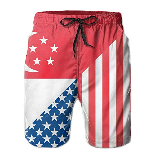 AP.Roon American and Singapore Flag Mens Printed Quick Dry Swim Trunk Summer Swimsuit Shorts with Mesh Lining White