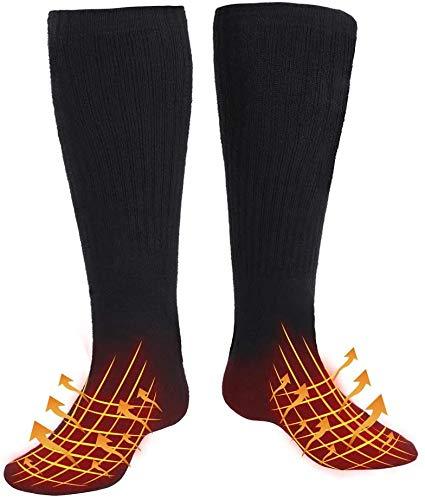 WATERFLY Beheizbare Socken für Herren Damen, Wiederaufladbarem Batterie Beheizte Socken, Winter-Baumwollsocken Fußwärmer mit 4 Einstellbarer Temperatur für Outdoor/Skifahren/Angeln/Jagd/Camping