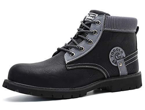 [tqgold] 安全靴 作業靴 ハイカット ブーツ 軽量 防水 革靴 鋼先芯 耐摩耗 耐滑ソール メンズ ワークマン 黒 作業 靴 仕事 工事現場 疲れない おしゃれ あんぜん靴 (ブラック 25.0cm)