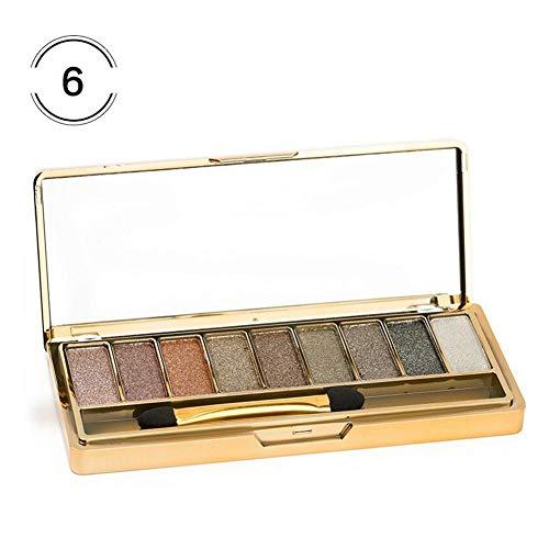 9-Farben-Schimmer-Lidschatten-Pulver-Gold-Schimmer-Erdton-Dauerhafte Palette für natürliches...