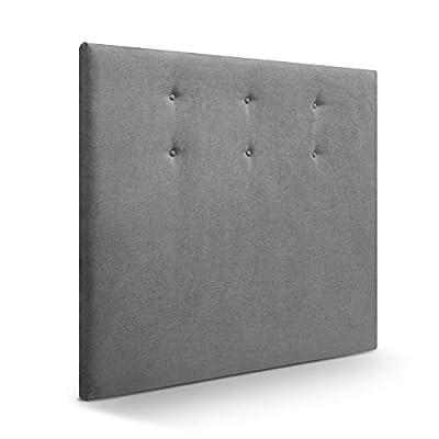 Cabecero tapizado acolchado para dormitorios con estructura en madera de pino Cabecero de cama acolchado con espumación HR Cabecero tapizado en tela antimanchas/polipiel Para camas de 135 (145 x 120 cm) tela gris