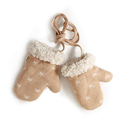 Handschuh Bio-Baumwolle Baby Infant Supplies Hängen Hals Handschuhe Kind Warm Halten Winter GAOFENG (Farbe : Brown-Star, größe : Age 1-2)